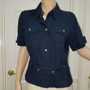 CHANEL Cotton Navy CC Eyelet Blouse w/ CC Buttons